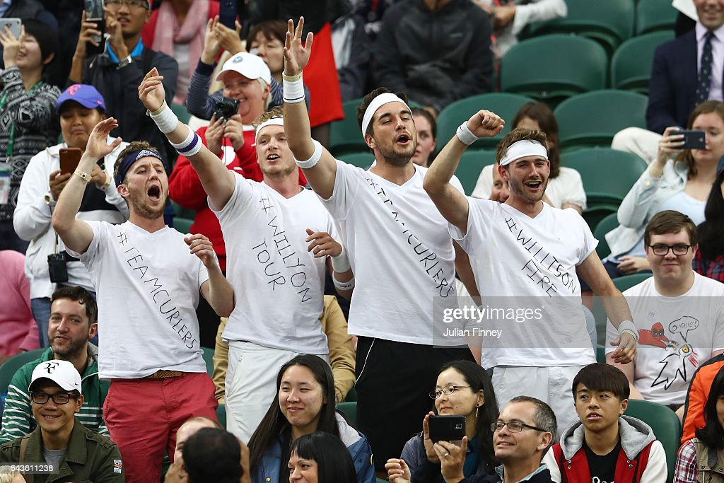 Supporters of Marcus Willis watch on from centre court during the Men's Singles second round match between Marcus Willis of Great Britain and Roger Federer of Switzerland on day three of the Wimbledon Lawn Tennis Championships at the All England Lawn Tennis and Croquet Club on June 29, 2016 in London, England.