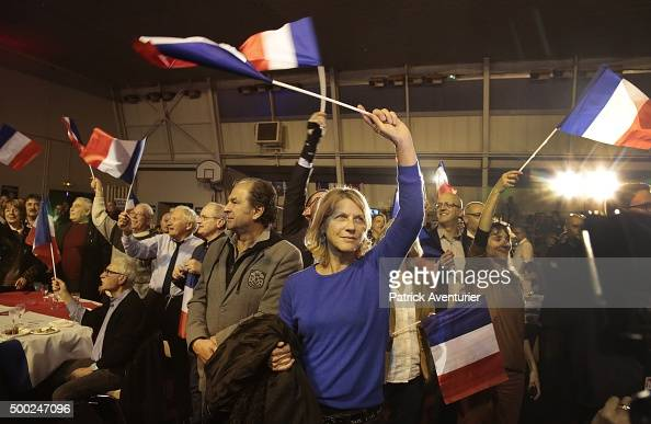 Supporters of Marion Marechal Le Pen vicepresident of the French farright Front National party and candidate for the regional elections in the...