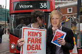 Supporters of mayoral rival Ken Livingstone disrupt Boris Johnson's fanfare launch of London's newest red doubledecker Routemaster bus which is seen...