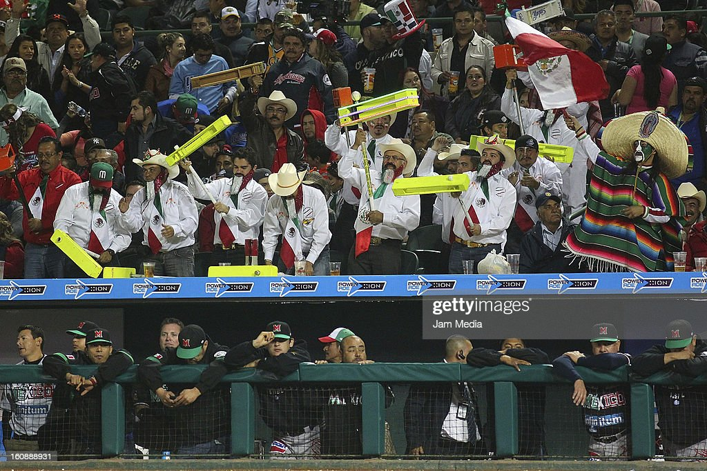 Supporters of Mexico celebrates during a match between Mexico and Puerto Rico for the Caribbean Series 2013 on February 6, 2013 in Hermosillo, Mexico.