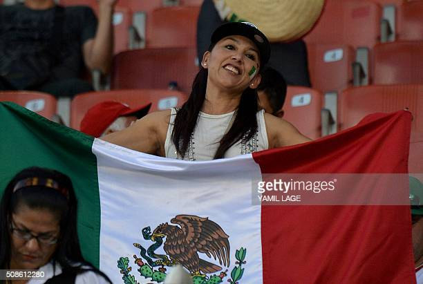 Supporters of Mexico cheer for their team during their 2016 Caribbean baseball series game against Puerto Rico on February 5 2016 in Santo Domingo...