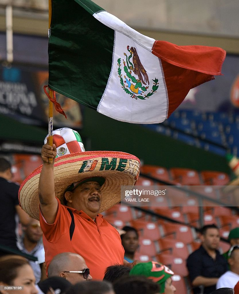 Supporters of Mexico cheer for their team during their 2016 Caribbean baseball series game against Venezuela on February 7, 2016 in Santo Domingo, Dominican Republic. AFP PHOTO/YAMIL LAGE / AFP / YAMIL LAGE
