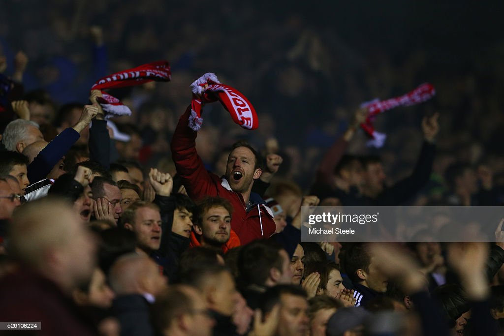 Supporters of Middlesbrough celebrate their sides second goal during the Sky Bet Championship match between Birmingham City and Middlesbrough at St Andrews on April 29, 2016 in Birmingham, United Kingdom.