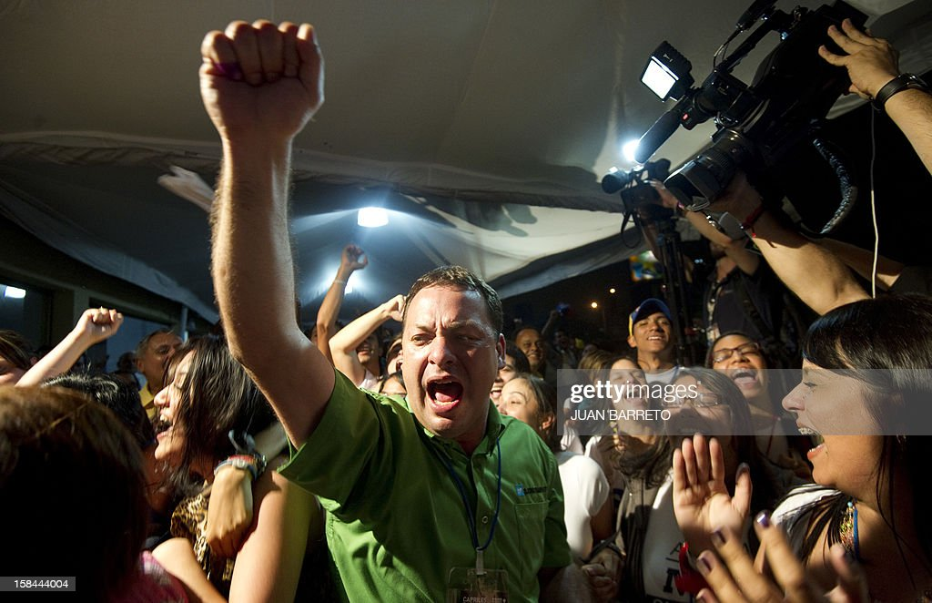 Supporters of Miranda State governor and candidate for the re-election, Henrique Capriles Radonski celebrate after state elections on December 16, 2012. The candidate for reelection by the Democratic Unity Table (MUD) for governor of Miranda state, Henrique Capriles, won Sunday's regional election with 50.35% of the votes. AFP PHOTO/JUAN BARRETO