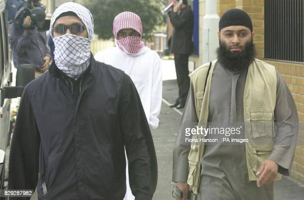 Supporters of muslim extremist group AlMuhajiroun in east London after attending a news conference held by the group hailing the US September 11th...
