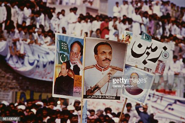 Supporters of Nawaz Sharif leader of the Islami Jamhoori Ittehad or Islamic Democratic Alliance in the runup to the Pakistani General Election...