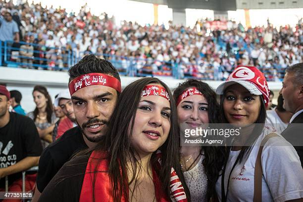Supporters of Nidaa Tounes 'Call of Tunisia' gather to mark the 3rd anniversary of Nidaa Tounes in Tunis Tunisia on June 16 2015