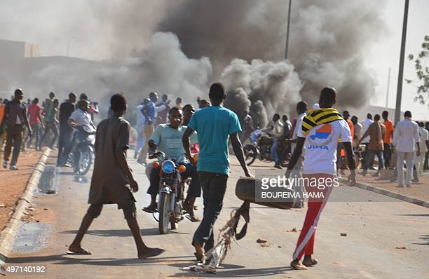 Supporters of Niger presidential candidate Hama Amadou hold a protest in Niamey on November 14 after opposition Niger presidential candidate Hama...