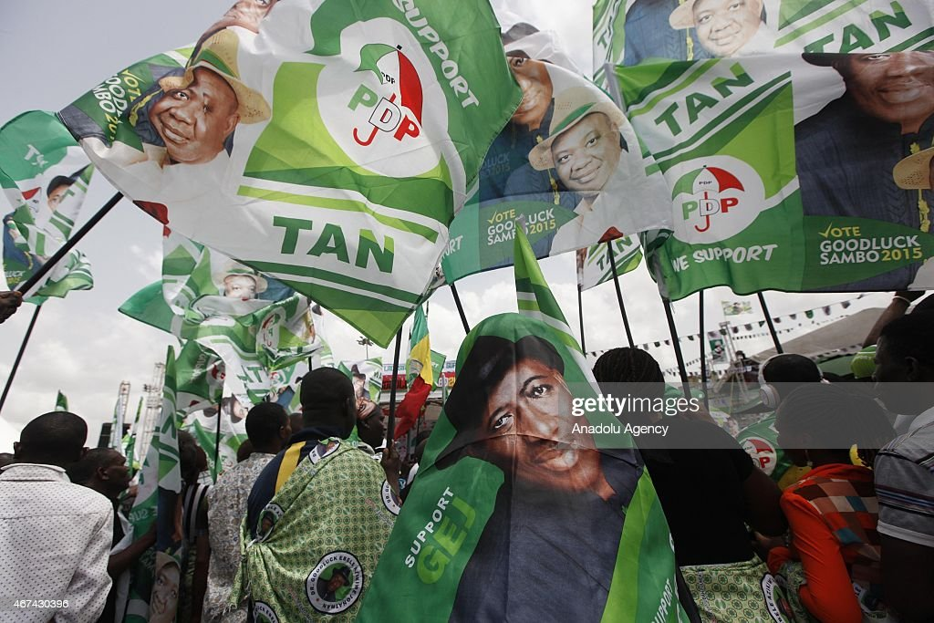 Supporters of Nigerian President <a gi-track='captionPersonalityLinkClicked' href=/galleries/search?phrase=Goodluck+Jonathan&family=editorial&specificpeople=4124968 ng-click='$event.stopPropagation()'>Goodluck Jonathan</a> and candidate of the ruling Peoples Democratic Party (PDP) attend an election campaign rally in Lagos, Nigeria on March 24, 2015.