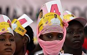 TOPSHOT Supporters of Niger's incumbent president and presidential candidate Mahamadou Issoufou attend a presidential campaign rally at the Seyni...