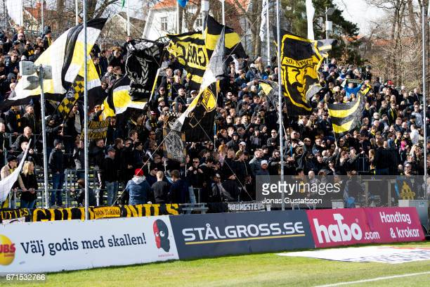 Supporters of of AIK during the Allsvenskan match between Jonkopings Sodra IF and AIK at Stadsparksvallen on April 22 2017 in Jonkoping Sweden