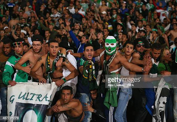 Supporters of of Raja Casablanca celebrate after the FIFA Club World Cup Semi Final match between Raja Casablanca and Atletico Mineiro at the...