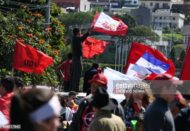Supporters of opposition candidate Salvador Nasralla protest in Tegucigalpa on December 10 2017 The protests that have been ongoing since the...