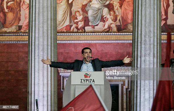 Supporters of opposition leader and head of radical leftist Syriza party Alexis Tsipras cheers at exit poll results January 25 2015 in Athens Greece...