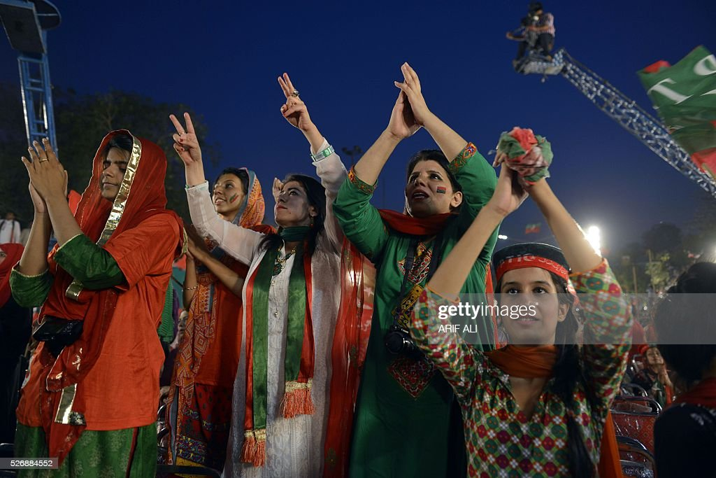 Supporters of opposition party Pakistan Tehreek-e-Insaf (PTI) react as they gather for an anti-government rally in Lahore on May 1, 2016, on the Panama Leaks issue. Pakistan's Prime Minister Nawaz Sharif pledged on April 22, 2016 to resign if a probe related to the Panama Papers tax scandal found his family had committed any wrongdoing. Three of Sharif's children were named in a vast leak of documents from Panama-based law firm Mossack Fonseca this month that has revealed how the wealthy hide their money. ALI