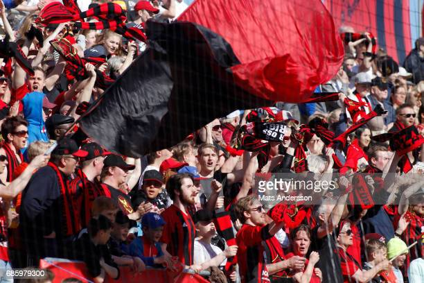 Supporters of Ostersunds FK during the Allsvenskan match between Ostersunds FK and Kalmar FF at Jamtkraft Arena on May 20 2017 in Ostersund Sweden