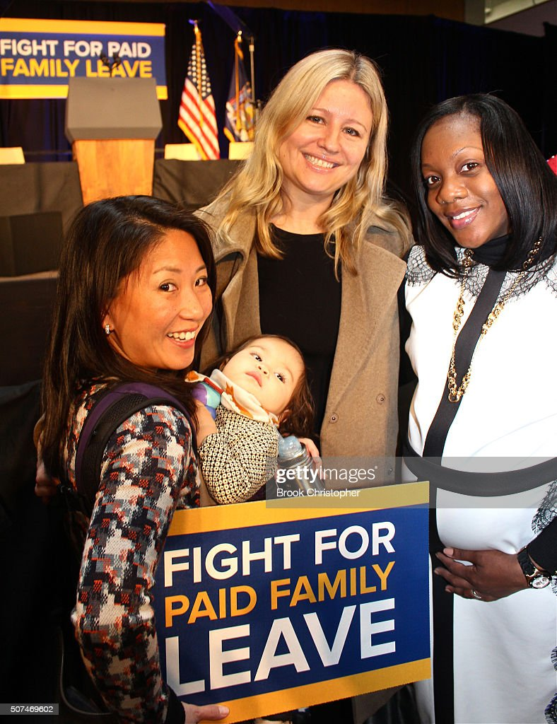Supporters of paid family leave attend a rally where U.S. Vice President Joe Biden spoke on paid family leave with NY Governor Andrew Cuomo who also delivered remarks on economy on January 29, 2016 in New York City.