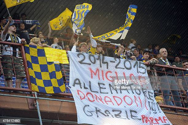 Supporters of Parma before the Serie A match between UC Sampdoria and Parma FC at Stadio Luigi Ferraris on May 31 2015 in Genoa Italy