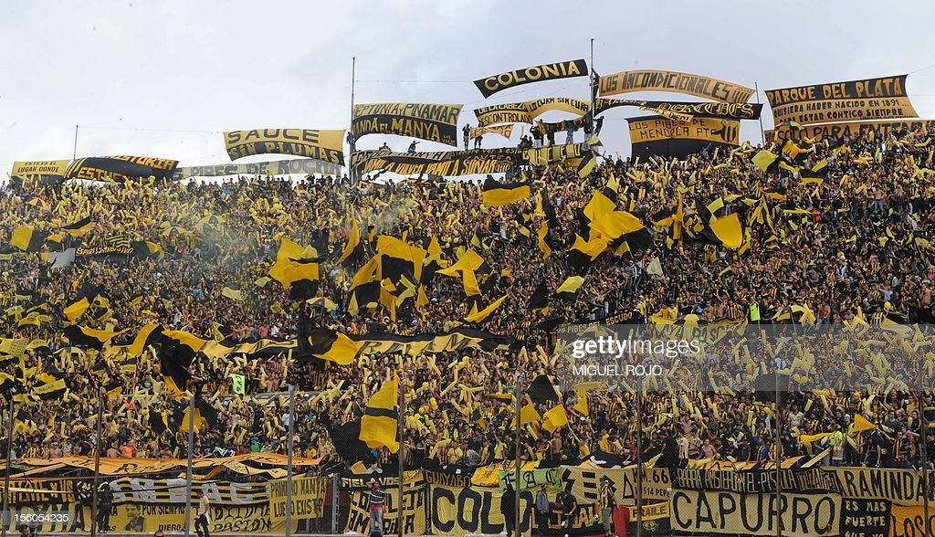 Supporters of Peñarol cheer during the derby match of the Uruguayan tournament against Nacional, at the Centenario stadium in Montevideo, on November 11, 2012. AFP PHOTO / Miguel ROJO