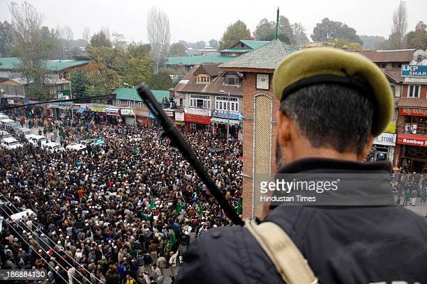 Supporters of People Democratic party during a peace rally at Lal Chowk on November 4 2013 in Srinagar India PDP urged India and Pakistan to end...