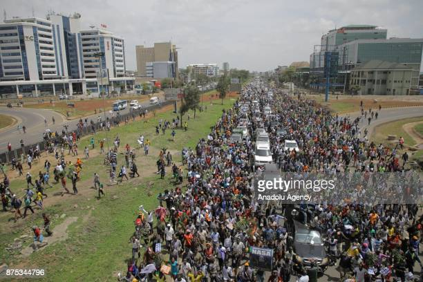 Supporters of political opposition leader Raila Odinga who are trying to gather near the country's main airport and Uhuru park to welcome Odinga back...