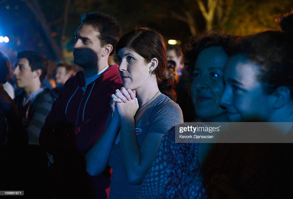 Supporters of President Barack Obama listen to his acceptance speech during a celebration at Grand Park after Obama was re-elected on November 6, 2012 in Los Angeles, California. Obama won re-election against Republican candidate, former Massachusetts Governor Mitt Romney.