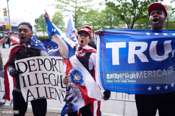 Supporters of President Donald Trump argue with antiTrump protestor outside the Intrepid Sea Air Space Museum on Thursday May 4 2017 in Manhattan NY...