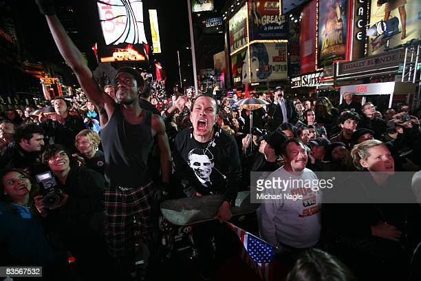 Supporters of Presidentelect Barack Obama celebrate after watching the 2008 presidential election results in Times Square on November 4 2008 in New...