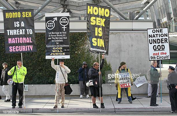 Supporters of Prop 8 holds a sign during a demonstration outside of the Ninth Circuit Court of Appeals on December 6 2010 in San Francisco California...