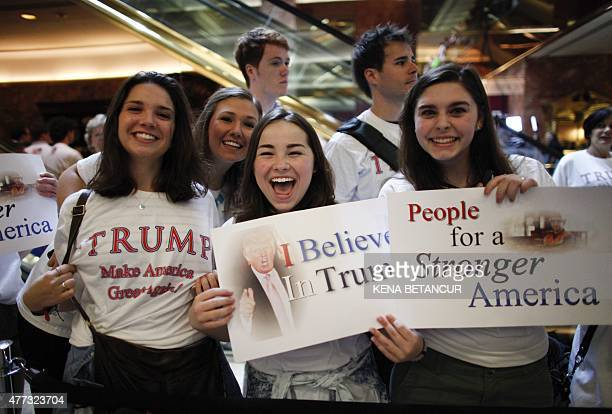 Supporters of real estate mogul Donald Trump are seen before he announces his bid for the presidency in the 2016 presidential race during an event at...