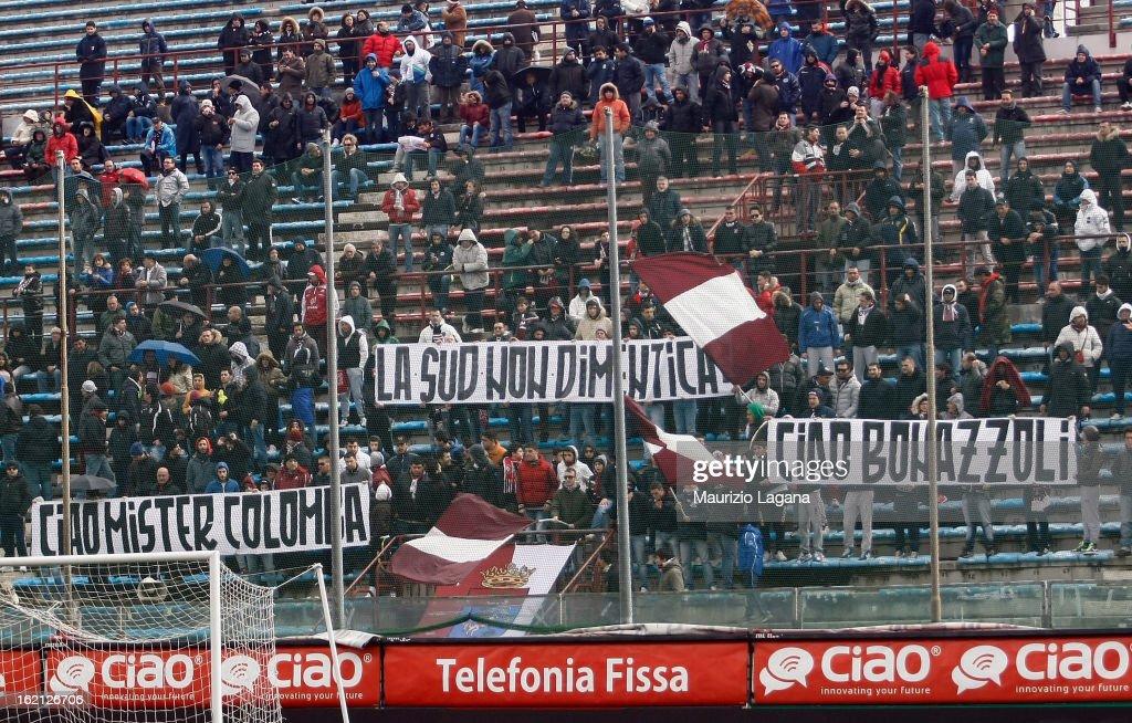 Supporters of Reggina during the Serie B match between Reggina Calcio and Calcio Padova on February 16, 2013 in Reggio Calabria, Italy.