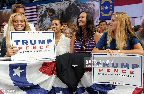 Supporters of Republican presidential candidate Donald Trump await his campaign event at Trask Coliseum on August 9 2016 in Wilmington North Carolina...