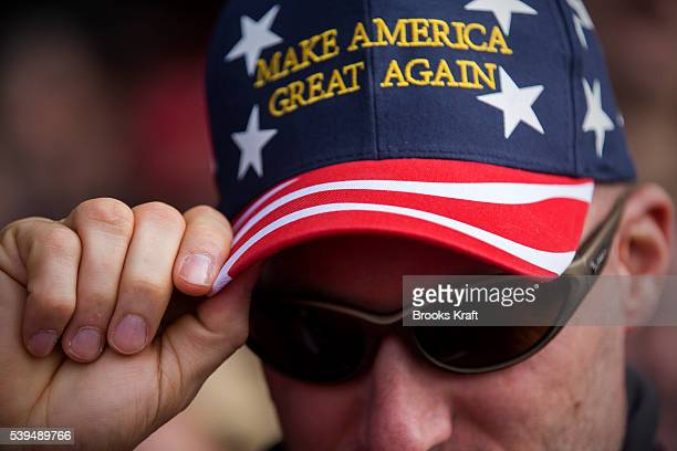 Supporters of Republican Presidential candidate Donald Trump gather at a campaign rally March 12 2016 in Vandalia Ohio