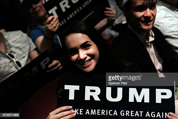 Supporters of Republican presidential candidate Donald Trump wait to hear him speak at a rally in Bridgeport on April 23 2016 in Bridgeport...