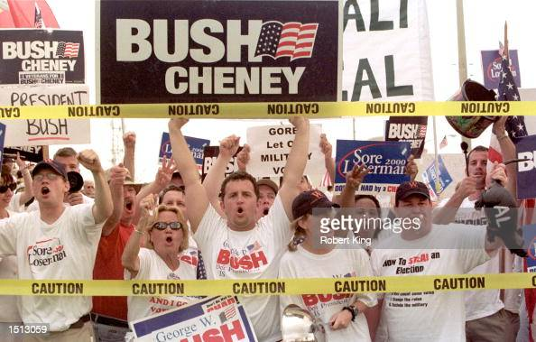 Supporters of Republican presidential candidate George W Bush chant slogans and taunt Democrats outside the Palm Beach County Emergency Operations...