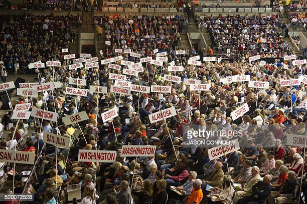 TOPSHOT Supporters of Republican presidential candidate Sen Ted Cruz attend the Republican Convention at The Broadmoor World Arena in Colorado...