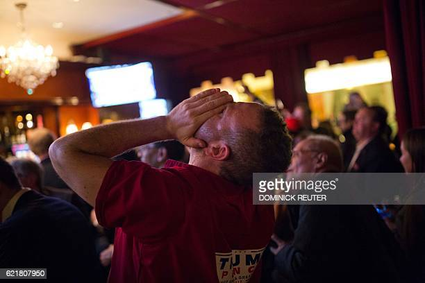 Supporters of Republican presidential nominee Donald Trump react to Fox News calling Ohio for Trump at the Trump Bar inside Trump Tower in New York...