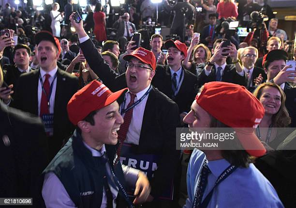 TOPSHOT Supporters of Republican presidential nominee Donald Trump react to early poll results during election night at the New York Hilton Midtown...