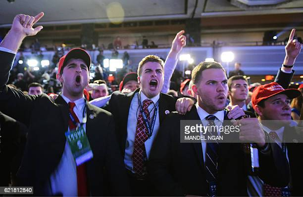 TOPSHOT Supporters of Republican presidential nominee Donald Trump reacts to early results during election night at the New York Hilton Midtown in...