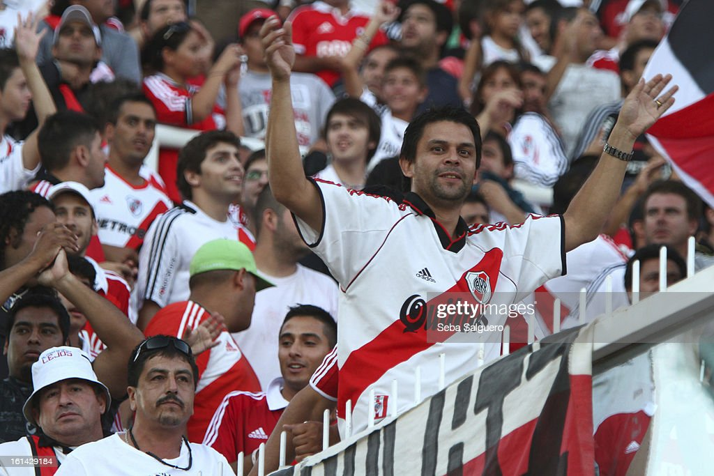 Supporters of River looks on the game in the stands during the match between Belgrano and River for the Torneo Final 2013 on February 10, 2013 in Cordoba, Argentina.