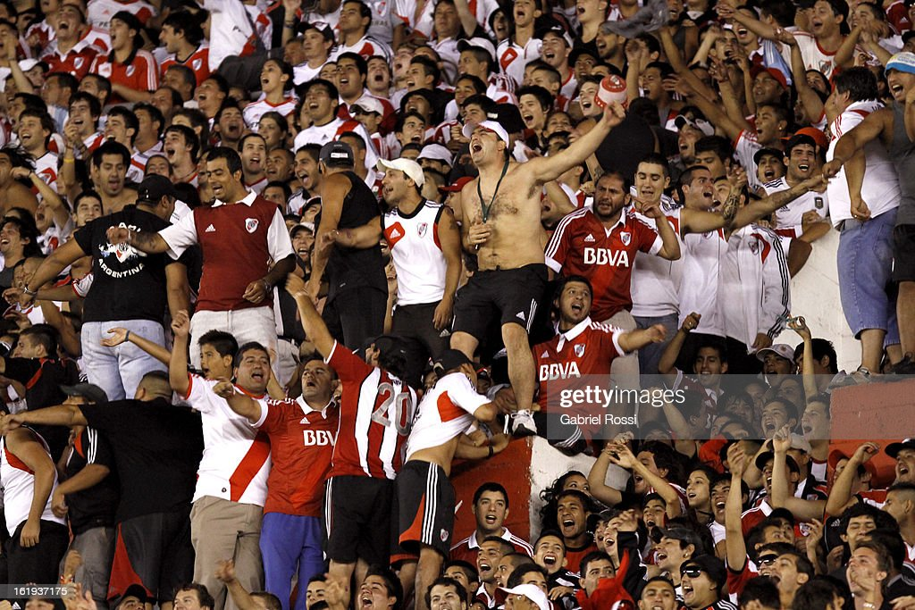 Supporters of River Plate during the match between River Plate and Estudiantes of Torneo Final 2013 on February 17, 2013 in Buenos Aires, Argentina.