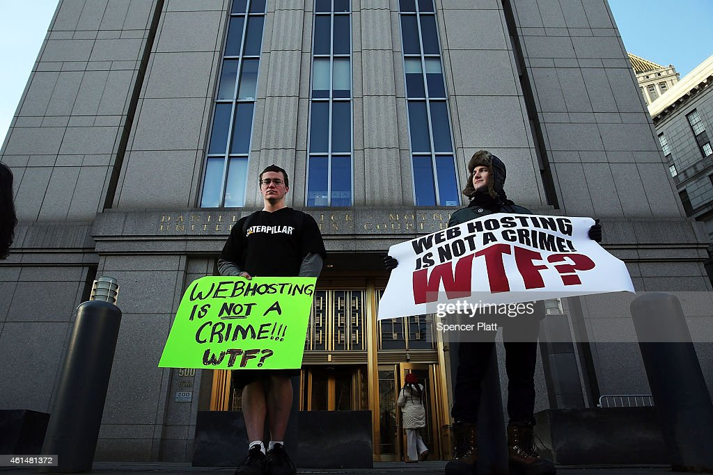 Supporters of Ross Ulbricht the alleged creator and operator of the Silk Road underground market stand in front of a Manhattan federal court house on...