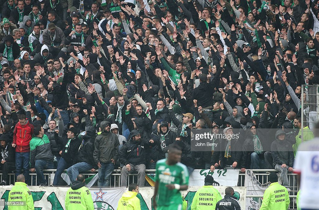 Supporters of Saint-Etienne in action during the Ligue 1 match between Olympique Lyonnais, OL, and AS Saint-Etienne, ASSE, at the Stade Gerland on April 28, 2013 in Lyon, France.