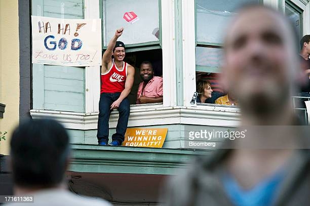 Supporters of samesex marriage celebrate in the Castro District after the US Supreme Court overturned the Defense of Marriage Act and declined to...