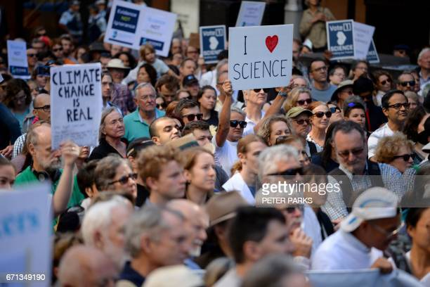 Supporters of science and research gather for the March for Science protest in Sydney on April 22 2017 Thousands of people rallied in Australia and...