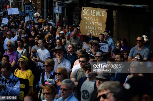 Supporters of science and research gather to protest in Sydney on April 22 2017 Thousands of people rallied in Australia and New Zealand on April 22...
