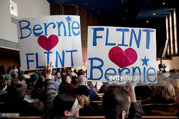 FLINT MI Supporters of Senator and Democratic Presidential Candidate Bernie Sanders wait for the candidate to arrive at a community forum on the...
