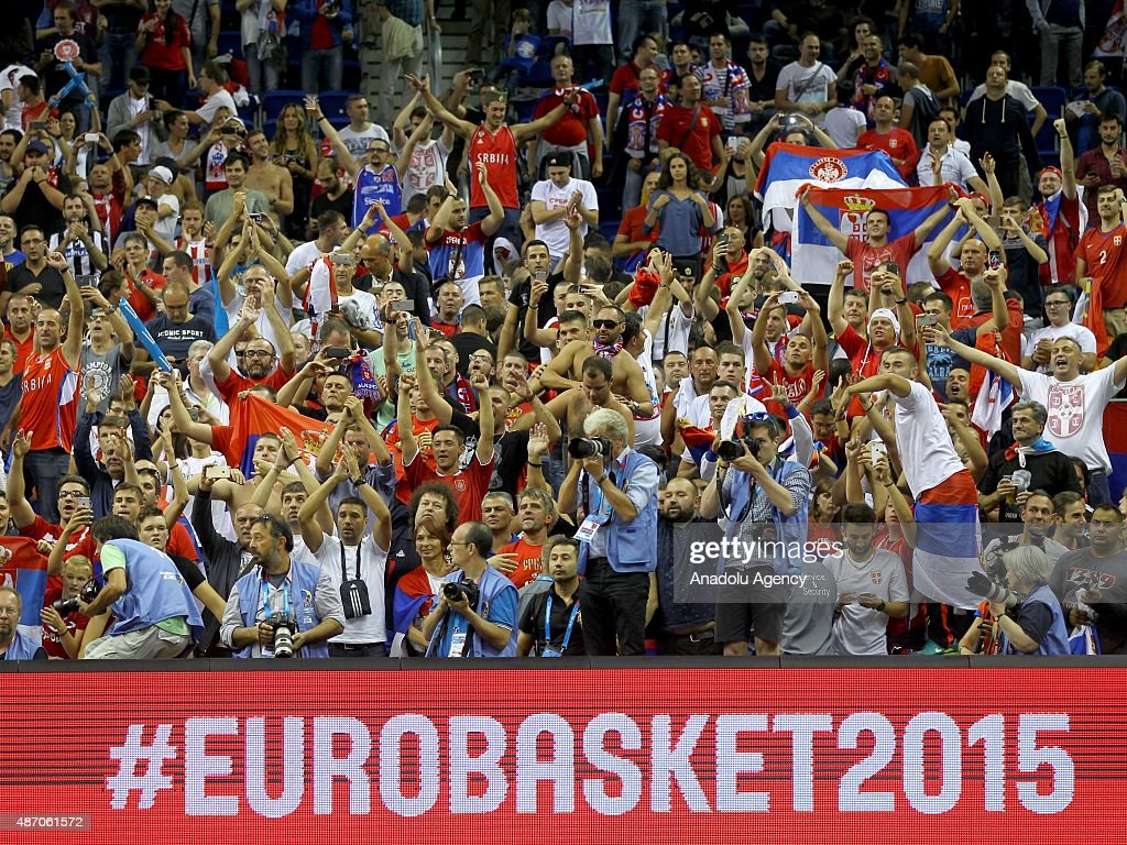 Supporters of Serbia are seen during the EuroBasket 2015 group B match between Spain and Serbia at Mercedes-Benz Arena in Berlin, Germany on September 5, 2015.