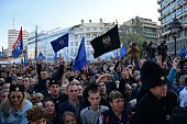 Supporters of Serbian nationalist Vojislav Seselj gather after his arrival in Belgrade on November 15 2014 War crimes suspect and former Serbian...