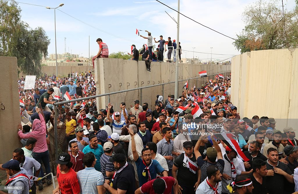 Supporters of Shia cleric Muqtada al-Sadr, demanding government reforms, enter into highly-fortified Green Zone in Baghdad, Iraq on April 30, 2016.
